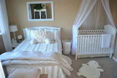 Like this layout with bed + crib against back wall