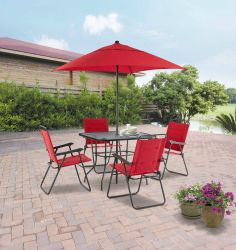 Patio Dining Set 6-Piece Padded Folding Patio Dining Set, Red, Seats 4 Patio Set