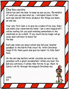 Elf On The Shelf First Night Letter
