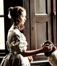 """theyoungvictorix: """"""""Queen Victoria with her dog Dash in 'The Young Victoria' """" """" Victoria Movie, Victoria Itv, The Young Victoria, Queen Victoria Prince Albert, Daughter Of God, What's Trending, New Moon, Period Dramas, Romantic"""