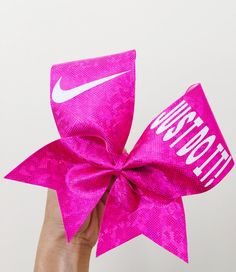 Hot Pink Shattered Glass holographic Spandex Just Do It Cheer Bow