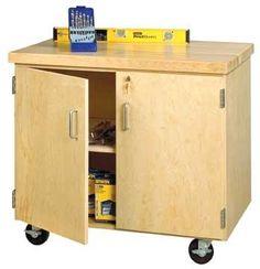 mobile storage cabinet locking door style w maple top