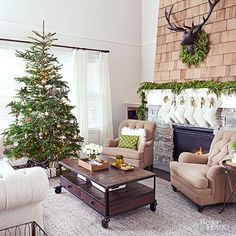 Here's proof that Christmas decorating doesn't have to be over the top. A simple but matching tree, garland, and wreath dress up this living room with minimal effort. /