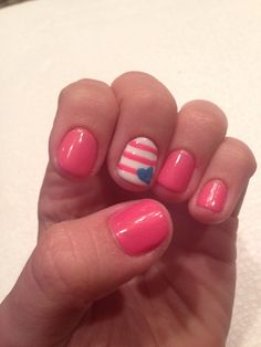 Blue heart, pink stripes, nails