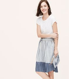Petite Border Stripe Midi Skirt | LOFT