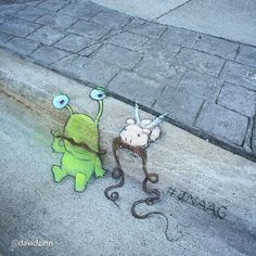 "by ""Everyone commented on our at the but the really hard part for was growing a nose to put it under. David Zinn, 3d Street Art, Street Art Graffiti, Street Artists, Pablo Picasso, Chalk Pictures, Chalk Artist, Sidewalk Chalk Art, Graffiti Murals"