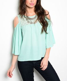 Another great find on #zulily! Mint Cape-Sleeve Cutout Top #zulilyfinds