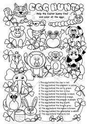 Egg Hunt I Esl Worksheet By Gabitza