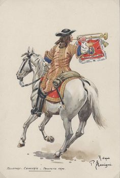 French; Cavalry Regiment Pelleport, Trumpeter, 1694 Emperors New Clothes, 18th Century Clothing, Army Uniform, French Army, Louis Xiv, Modern Warfare, Fantasy World, 17th Century, France