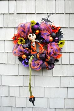 Halloween Wreath Zombie Skeleton Orange Black Purple Spooky Sunflowers Deco Mesh Bats by TisTheSeasonDesign on Etsy