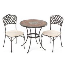 Alfresco Home Asti Indoor Outdoor Marble Mosaic Bistro Set, 30-Inch by Alfresco Home. $899.00. Chairs come fully welded with an outdoor rated acrylic cushion that is water and fade resistant. Wrought Iron Frames are E-coated with a powder coat paint to provide a weather proof, rust resistant finish. Includes Two Basketweave Bistro Chairs and One 30 inch Asti Bistro Table with Base. Hand Set Marble Mosaic Tiles are from natural sources including marble, slate and travertine set i...