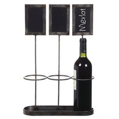 Metal Wine Bottle Holder/Chalkboard Holds with 3 Bottles (17-1/4H), Black