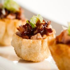 Barbecued Roast Duck in a Crisp Wonton Cup with Hoisin Sauce & Green Onions