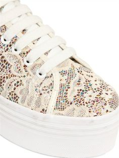 SNEAKERS IN PIZZO E GLITTER 50MM