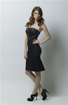 Sleeveless Black Sheath Strapless Knee-length Satin #Bridesmaid #Dress Style Code: 07456 $79