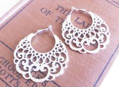 Silver Lace Hoop Earrings by EridaneasBoutique on Etsy