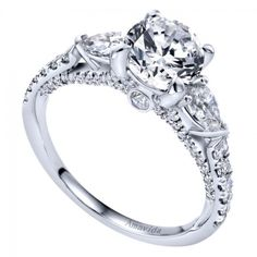 Now this is a three stone engagement ring! I love the pear side stones and incredible side details. So much sparkle! Three Stone Engagement Rings, Three Stone Rings, Diamond Engagement Rings, Fashion Rings, Fashion Jewelry, Wedding Jewelry, Wedding Rings, White Gold Diamonds, Wedding Day