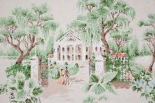 1960's Vintage Wallpaper Scenic Southern Plantation Couple