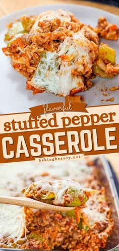 Everything in a casserole recipe tastes better.. This stuffed pepper recipe is proof of that! Turn your dinner idea a notch higher with this easy main dish loaded with beef, tomatoes, peppers, and… Potluck Side Dishes, Best Side Dishes, Side Dish Recipes, Main Dishes, Easy Stuffed Peppers, Stuffed Pepper Casserole, Casserole Dishes, Casserole Recipes, Side Salad