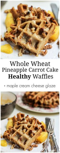 Amazing whole wheat carrot cake waffles packed with pineapple and nuts (if you'd like). Top with a light maple cream cheese glaze and you've got yourself a decadent, yet still healthy breakfast!