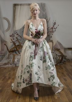 Inspired by British model Poppy Delevigne, the new Elizabeth Fillmore Spring 2016 Bridal Collection is perfect for the boho bride! Printed Wedding Dress, Floral Wedding Gown, 2016 Wedding Dresses, White Wedding Dresses, Designer Wedding Dresses, Gown Wedding, Elizabeth Fillmore, Unique Dresses, Bridal Collection