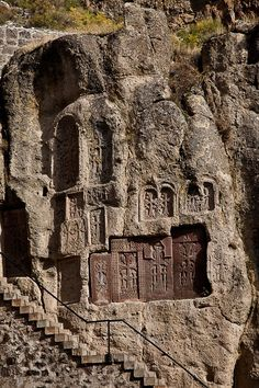 """""""One of the great sites of Armenia and on the UNESCO World Heritage List since 2000, Geghard ('Spear') Monastery in its gorge setting should ideally be seen when several of the country's less extraordinary churches have been visited. It is then easier to appreciate what makes this one different. Its unusual feature is that it is partly an ordinary surface structure and partly cut into the cliff."""" Armenia: the Bradt Guide; www.bradtguides.com"""