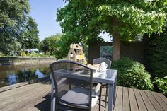Your private terrace at the water! Enjoying your breakfast or read a book! #bedandbreakfast #zaanstad #amsterdam