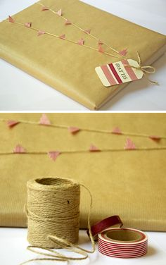 Banner & Twine Wrap: Place sticky decorative tape around twine; space evenly & cut into triangular shape; use leftover tape to jazz up gift card. Wrapping Ideas, Present Wrapping, Creative Gift Wrapping, Creative Gifts, Craft Packaging, Paper Packaging, Pretty Packaging, Craft Gifts, Diy Gifts