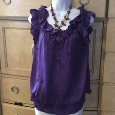 Violet &Claire ruffled neck blouse 100%polyester,silky soft purple blouse Violet & Claire Tops Blouses