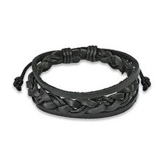 Black Genuine Leather Bracelet Braided Center « Holiday Adds