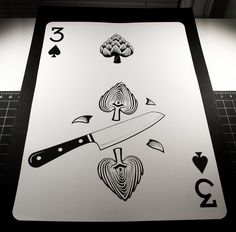 2 feet tall paper-cut playing card. The Delicious deck by Emmanuel Jose. www.emmanueljose.com