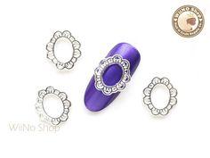 Oval Lace Frame Silver Nail Metal Charm Nail Art - 2 pcs