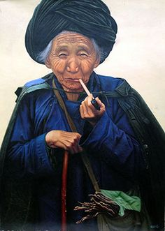 Handpainted Folk Art Oil Painting Old Woman of Chinese Ethnic Minority : http://www.chilture.com/handpainted-folk-art-oil-painting-old-woman-of-chinese-ethnic-minority-p-685.html