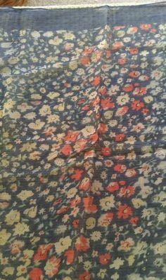Vintage men pocket square job lot blue floral cotton silk top pocket hakie