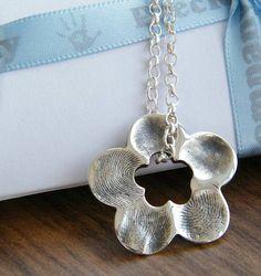 FINGERPRINT JEWELLERY- Solid silver flower fingerprint petal charm. Up to five fingerprints.