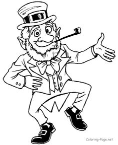 St. Patrick's Day coloring page - Dancing leprechaun