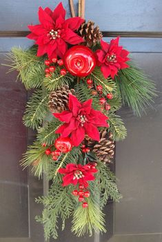 Christmas Door Swag with Poinsettias, Apples and Cranberries Christmas Swags, Christmas Door Decorations, Outdoor Christmas, Christmas Lights, Christmas Ornaments, Holiday Decor, Burlap Christmas, Christmas On A Budget, All Things Christmas