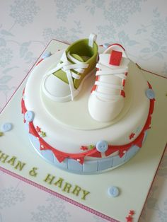 twins birthday cake one tennis shoe one girly sandal