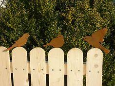 Edelrost Vogel Gartendekoration Gartendeko, Rost, Eisen, Spatz, Zaun, Metall