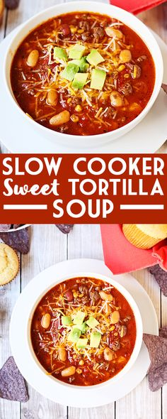 Slow Cooker Sweet Tortilla Soup -- Slow cooker sweet tortilla soup is slightly sweet, super family friendly and a cinch to make. That must be why it is extra delicious! | isthisreallymylife.com