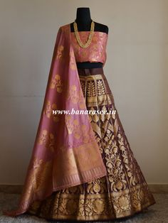 Banarasee/Banarasi Handwoven Art Silk Unstitched Lehenga & Blouse Fabric With Dupatta-Brown & Pink Brocade Lehenga, Banarasi Lehenga, Lehenga Blouse, Indian Lehenga, Indian Wedding Outfits, Indian Outfits, Indian Designer Outfits, Designer Dresses, Lehenga Style