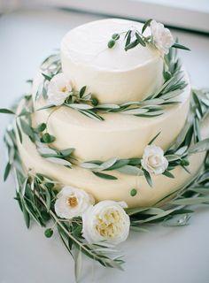 olive leaf wedding cake, organic wedding cake, farm table, wedding farm table…