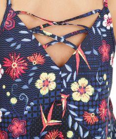Regata Floral com Tiras Azul Marinho - cea