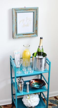 How to style a Mimosa Bar Cart for a bridal shower #ad #EpicWithAndre - Pretty My Party