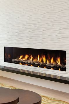 Regency City Series™ New York View 72 Designer Gas Fireplace. This front-facing linear fireplace can be seamlessly integrated into any room with it's frameless design. Fireplace Fronts, Fireplace Tv Wall, Linear Fireplace, Fireplace Inserts, Living Room With Fireplace, Fireplace Design, Fireplace Ideas, Contemporary Gas Fireplace, Condo