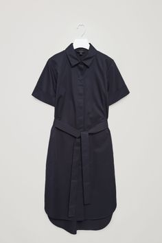 COS image 2 of Belted shirt dress in Dark Navy