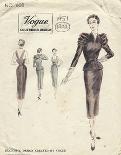 1951 Vintage VOGUE Couturier Sewing Pattern No. 608 DRESS & JACKET