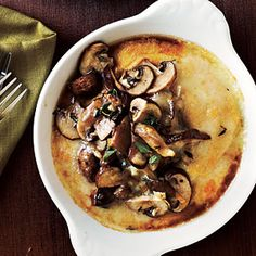 Polenta with Mushroom. This is SO good. Even if you only have button mushrooms.