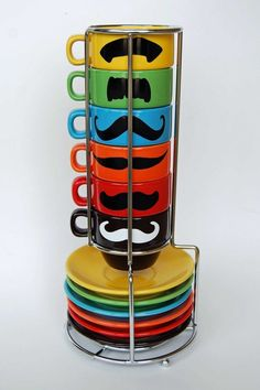 Multi Color Mustache Espresso Mugs and Saucers  by lovegracejoy