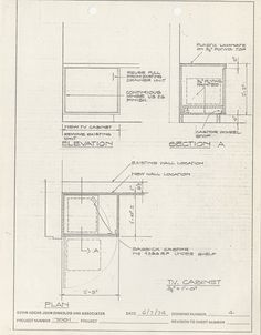 This design for a TV Cabinet by the office of Kevin Roche, John Dinkeloo and Associates features a pivot for TV to be swung in and out of cabinet. Photocopy of TV Cabinet drawing (81/2 x 11 in.) by Kevin Roche, John Dinkeloo and Associates, 7 June 1974, 9/88, Miller House and Garden Collection, IMA Archives, Indianapolis Museum of Art, Indianapolis, Indiana. (MHG_Ib_B009_f088_079)